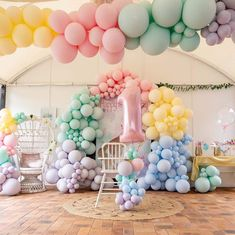 Balloons for all Occassions - The Original Party Bag Company Rainbow First Birthday, First Birthday Themes, 1st Birthday Girls, First Birthday Parties, Birthday Celebration, Birthday Ideas, Ballons Pastel, Rainbow Balloons, Purple Balloons