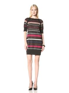 820811df00b76 80% OFF Donna Ricco Women  s Elbow Sleeve Striped Dress (Azalea