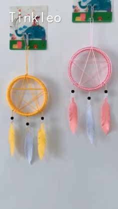 Diy Dream Catcher For Kids, Dream Catcher Decor, Craft Stick Crafts, Paper Crafts, Diy Crafts, Projects For Kids, Diy For Kids, Dream Catcher Earrings, How To Make Rings