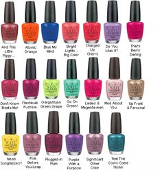 OPI Nail Colors.. can get at rite aid, walgreens, walmart, target.. etc.