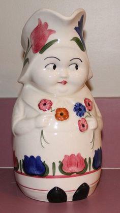 Vintage Blue Ridge China Pitcher Jug Girl (peasant? betsy?) holding flowers ewer SOLD!
