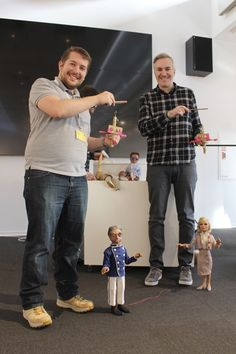 Senior designers Matthew Ashton and Samuel Johnson meet the puppet heroes.