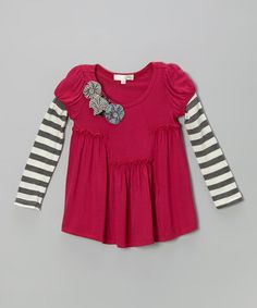 Take a look at this Berry Stripe Layered Tunic - Toddler & Girls by Baby Sara on #zulily today!