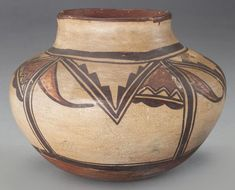 Native American Indian Pottery : Native American Hopi (Polacca) Polychrome Jar, Ca 1870 #520