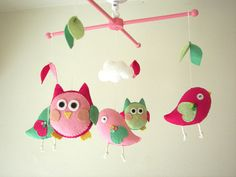 Baby crib mobile, Bird mobile, Owl mobile, felt mobile, nursery mobile, baby mobileNight Friends pink-green via Etsy