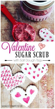 What do you do when you have an old mason jar and some extra supplies? You make this beautiful valentine sugar scrub with salt dough tags. This is a great DIY project to do with kids. What a beautiful gift for mom or a friend. Most of the ingredients you Friend Crafts, Diy Gifts For Friends, Diy Crafts For Gifts, Easy Diy Crafts, Gifts For Mom, Fun Crafts, Diy Body Scrub, Diy Scrub, Mason Jar Crafts