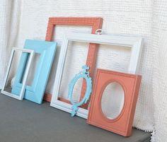 Aqua, Coral and White Ornate Frames Set of 6 - Upcycled Frames Shabby Chic Modern Nursery Decor Coastal Cottage Beach Decor. $50.00, via Etsy.