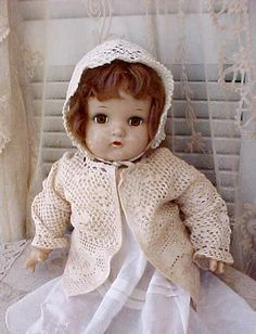 Dolly with Darling Vintage 1930's Crochet Baby Sweater