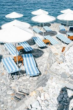 Summer time blues - blue stripes and orange tables, white parasol, beach vibes, white rock Summer Time Blues, Summer Vibes, Oh The Places You'll Go, Places To Travel, Travel Destinations, Playa Beach, Italian Summer, Italian Beach, Voyage Europe