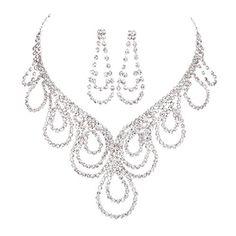 FAYBOX Sparkly Rhinestone Beaded Choker Necklace Earrings Wedding Jewelry Sets ¡ FAYBOX http://www.amazon.com/dp/B01B99U604/ref=cm_sw_r_pi_dp_6I74wb1Z0ZQHB