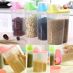 A96 Dried Food Cereal Flour Pasta Food Storage Dispenser Rice Container Sealed Box 1.9L #XY#(China (Mainland))