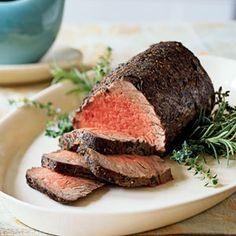 Thyme and Spice-Rubbed Roast Beef Tenderloin au Jus | MyRecipes.com
