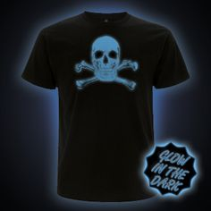 Blue Glow in the Dark Scary Skull T-Shirt