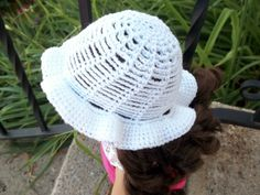 18 inch Doll Clothes - Crocheted White Hat Handmade for American Girl Doll Inspired by Kristin Omdahl's Chains Bucket Hat in Crochet So Fine by MelindasClosetFinds on Etsy