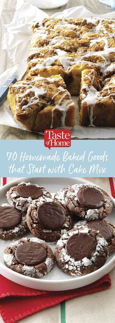 70 Homemade Baked Goods that Start with Cake Mix (from Taste of Home) Cake Mix Desserts, Cake Mix Recipes, Cake Mix Cookies, Just Desserts, Baking Recipes, Delicious Desserts, Dessert Recipes, Cake Mix Muffins, Cake Mixes