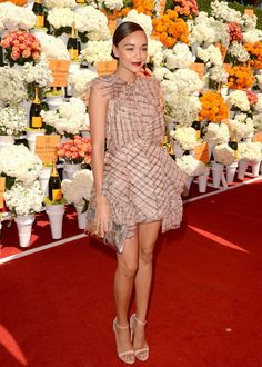 Ashley Madekwe wears Carousel Cascade Dress at the Veuve Clicquot Polo Classic in LA