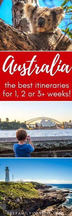 Australia is a huge country with SO much to see! Don't get overwhelmed with planning, check out these great Australia itinerary options for every length of stay. You'll find practical information on travel in Australia (including Australia on a budget) and detailed travel guides on things to do in Australia for many states. Visit Sydney, Melbourne, Queensland, Tasmania and Western Australia! #Australia #Sydney #Melbourne #Tassie #Queensland #travel #budgettravel #familytravel
