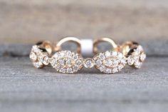 14k Rose Gold Diamond Vintage Oval Milgrain Bezel Full Eternity Band Ring Wedding Engagement #diamondbandring