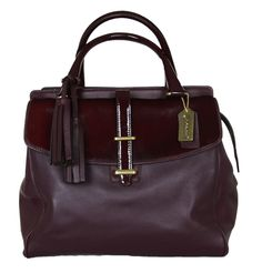 COACH Legacy Haircalf North / South Satchel in Brass / Aubergine 26362