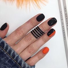 59 Black Square Acrylic Nails Designs Inspirations – Page 17 of 59 – Top Nails A… 59 Black Square Acrylnägel. Short Nail Designs, Fall Nail Designs, Acrylic Nail Designs, Acrylic Art, Cute Nails, Pretty Nails, My Nails, Fall Nails, Minimalist Nails