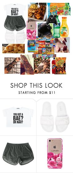 """""""snacks time and playing 2k17"""" by nusabiahill ❤ liked on Polyvore featuring Puma, Kate Spade and Hard Candy"""