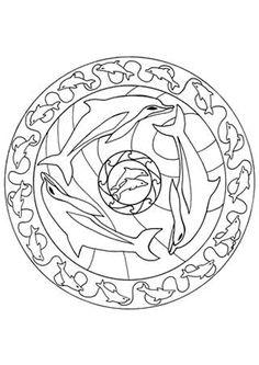 Coloriage mandala dauphin colorier sur Hugolescargot.com - Hugolescargot.com
