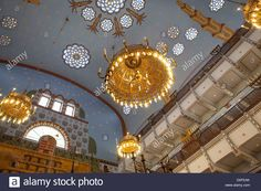 Orthodox Kazinczy synagogue In Budapest ceiling with stained glass Stock Photo, Royalty Free Image: 51971659 - Alamy Stained Glass Windows, Oh The Places You'll Go, Ceilings, Budapest, Royalty Free Images, Fair Grounds, Chandelier, The Incredibles, Stock Photos