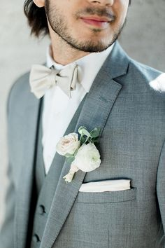 We've brought you lots of ideas on how to incorporate rose gold accents into a neutral wedding with the groom wearing a grey suit at the 1912 in Santa Ana. Grey Tuxedo Wedding, Wedding Tux, Bhldn Wedding, Rose Wedding, Wedding Dreams, Dream Wedding, Gold Tux, Rose Gold Tie, Prom Tux