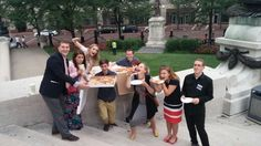Pizza on the square. With delegates from Finland Scotland Enland Poland. Such a wonderful brotherhood we belong to!! JW International Convention Indianapolis Indiana @jbrichmond2003