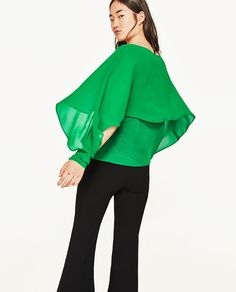 GREEN DOUBLE-LAYER FLOWING BLOUSE from Zara {UNDER $50}