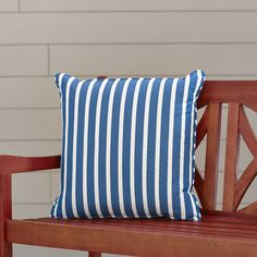 "Wayfair Custom Outdoor Cushions Sunbrella Outdoor Throw Pillow Fabric: Shore Regatta, Width: 22"", Depth: 22"""