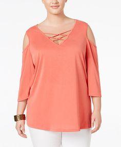 d779d8a40d9 ING Trendy Plus Size Lace-Up Cold-Shoulder Top Plus Sizes - Tops - Macy s