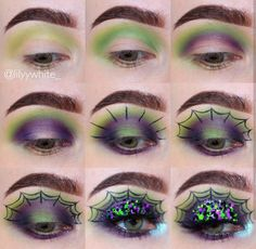 I like the color combo. Just stop before the web starts being added. — Glitter, spider web eye makeup