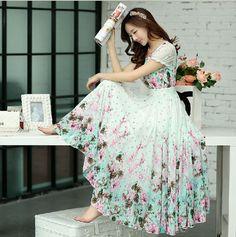 Elegant Women's Puff Sleeve Fresh Floral Print Boho Long Swing Party Dress Slim #100New #Maxi #Casual
