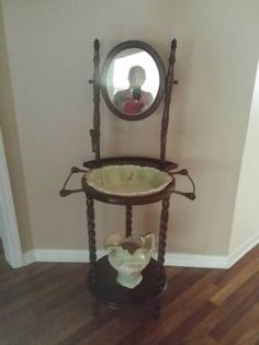 Antique Wash Basin Stand With Basin And Pitcher