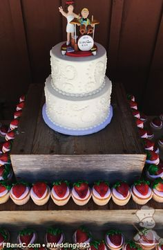 Design W 0823 | Cake and Cupcake Set Up | White cupcakes with Strawberry Buttercream and Fresh Strawberries | Custom Quote