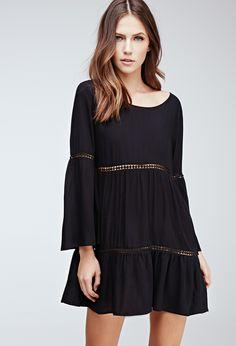 Crochet-Paneled Bell Sleeve Peasant Dress | FOREVER21 - 2000055782