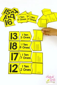 Kindergarten Math: Place Value Number Puzzles- a fun place value math center to teach tens and ones! Teach base ten math with these hands-on math [. Numbers Kindergarten, Math Numbers, Number Puzzles, Decomposing Numbers, Kindergarten Math Centers, Teaching Teen Numbers, Numbers Preschool, Homeschool Kindergarten, Kindergarten Reading