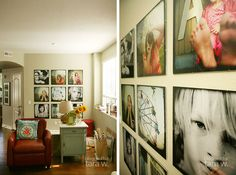 I {heart} Tara Whitney's photo wall. Nine 20x20 photos in a grid. Could easily print standouts or canvas at Costco...