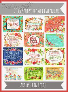 Art by Erin Leigh: Free Printable 2015 Scripture Art Calendar for you!