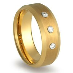 Gold Men/'s Tungsten Ring 10mm Wedding Band Pipe Cut Polished Shiny Size 6-15
