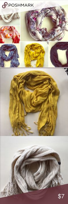 BUY ONE GET ONE FREE scarves! Buy one scarf for $7 and get one free! Or buy one for $5 - just tag me and I will make a separate listing so you can purchase it! Various Accessories Scarves & Wraps