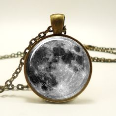 Full Moon Necklace Glass Photo Necklace Bronze 0439B1IN by rainnua, $14.45