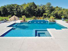 Geometric Pool built by Blue Haven Pools Oklahoma City, OK.