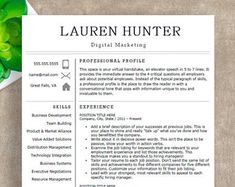 Page Modern Resume Template Ms Word With Photo Cover Letter