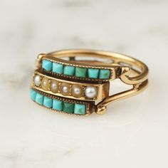 Antique Victorian 14k Yellow Gold Turquoise And Seed Pearl Two Row Ring