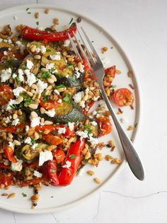 Roasted Vegetables, Feta & Grains Save Print Prep time 15 mins Cook time 55 mins Total time 1 hour 10 mins Roasted vegetables, creamy feta cheese, wholegrains and pine nuts are combined to make this healthy, one Easy Healthy Recipes, Veggie Recipes, Vegetarian Recipes, Recipes Dinner, Healthy Vegetables, Roasted Vegetables, Veggies, Clean Eating Snacks, Healthy Eating