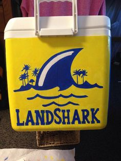 Painted cooler with Land Shark logo. An easy idea for a spring formal gift