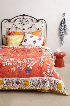 Dying to replace what I have with this-- Zocalo Embroidered Quilt #anthropologie