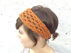 rust orange holy headband with button closure by KnitPrayLove, $15.00